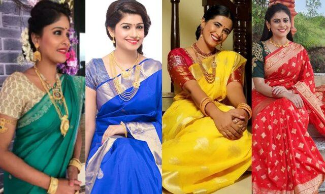 marathi actress saree color navratri